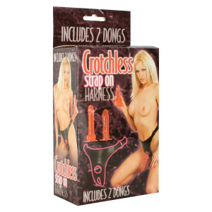 STRAP-ON CROTCHLESS  HARNESS CON 2 DONGS