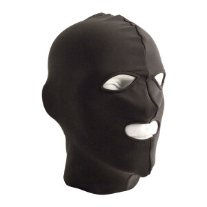 Lycra Hood Eyes and Mouth Open BLACK