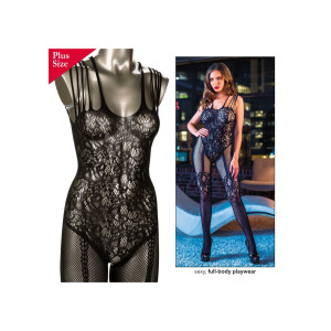 Strappy Lace Body Suit + - BLACK