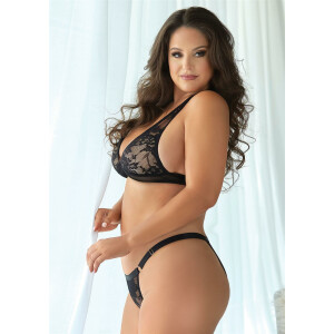 Lace and Mesh bralette & Panty - BLACK