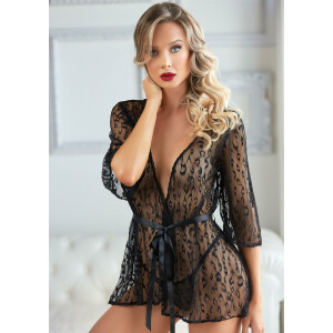 Leopard Lace Robe with String - BLACK