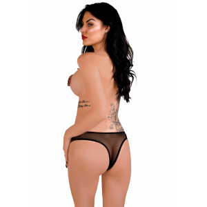 Indra crotchless beaded thong - BLACK