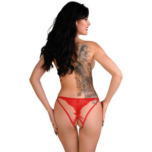 Naomi strappy crotchless tanga - RED