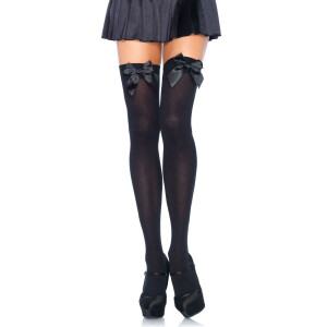 Nylon Thigh Highs With Bow - BLACK