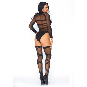 Bodysuit And Thigh Highs - BLACK