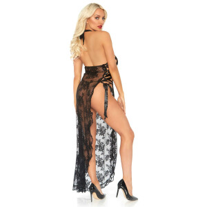 Long Dress With G-String - BLACK